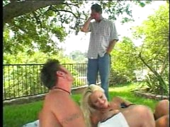 Valuable friends having a busty blond picnic