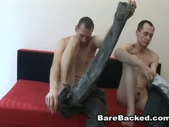 Bareback gay lovers hardcore anal fucking couch adventure