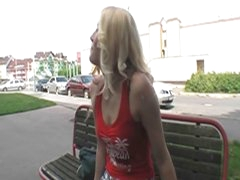 Sexy blonde chick fucked in public 4 some bucks and pleasure