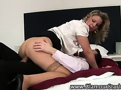 Classy euro clothed fetish blonde