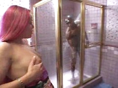 Black girl sucks monster black cock in shower