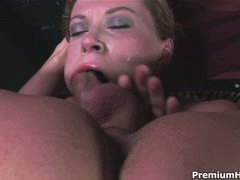 Hot woman Sara Stone with large boobs gets her throat screwed with no mercy by man with rigid cock. This babe takes his meat pole so deep that touches his balls with her lips from time to time.