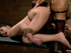 Andy San Dimas is back again as a slave girl. Sexy brunette gets restrained. tortured and ruthlessly strapon fucked by hot blooded lesbian mastix Gia Dimarco.