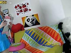 panda bear is in the girl's bedroom