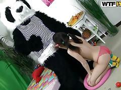 panda bear and a fragile slutty girl
