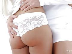 russian blonde in white panties