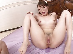 asian cunt swallows a large hairy cock