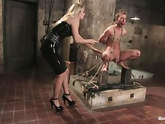 blonde femdom-goddess inducing pang to her sex slave
