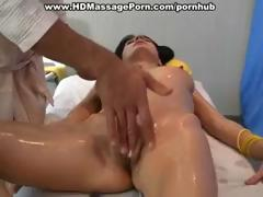 Hot brunette gets oiled up for a nice massage and gets fucked
