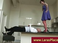 Liciking pussy over the balcony kitchen by a horny cheeky guy