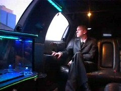 Hot gay meeting in driving limo