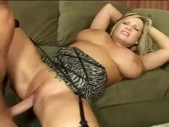 Huge tits curvy milf fucked on couch