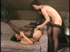 Ladies in stockings strapon banging