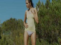 Extra slim beauty make striptease outsite
