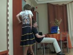 Dude watching porn seduced by brunette milf