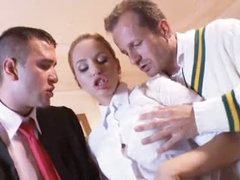 Prep school hotty fucked by country club guys