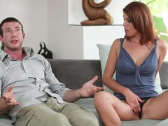 Red-haired beauty goddess Kristine Crystalis spreads her legs side by side with gracious guy. She touches her pussy and shows off her boobs before engulfing sausage.